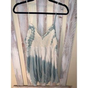 Lulu's Teal Tye-dye Crochet Dress